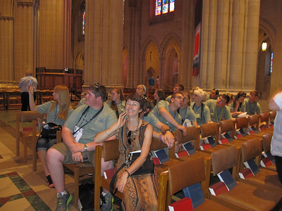 Tour guide Linda Mason and the group at the National Cathedral.