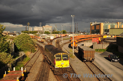 Under a dramatic black sky 207 heads down the siding before propelling the IWT Liner out of the yard and then down the Alexandra Road Tramway. Mon 30.05.11