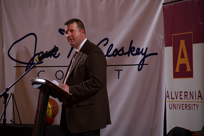 John McCloskey, Jr. offers the family's reaction in front of a capacity crowd at the Physical Education Center as Alvernia University officially named the gym floor Jack McCloskey Court after former head men's basketball coach, Jack McCloskey.