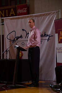 Former men's basketball player Art Schomp (1992-95) offers remarks on behalf of the players at the Physical Education Center as Alvernia University officially named the gym floor Jack McCloskey Court after former head men's basketball coach, Jack McCloskey.