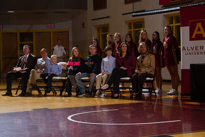 The McCloskey family listens to Alvernia University Athletic Director Bill Stiles as he addresses a capacity crowd at the Physical Education Center as Alvernia University officially named the gym floor Jack McCloskey Court after former head men's basketball coach, Jack McCloskey.