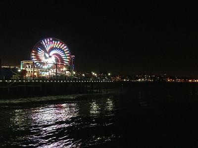 Santa Monica at night.