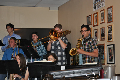 The jazz band at Vincenzo's Pizza