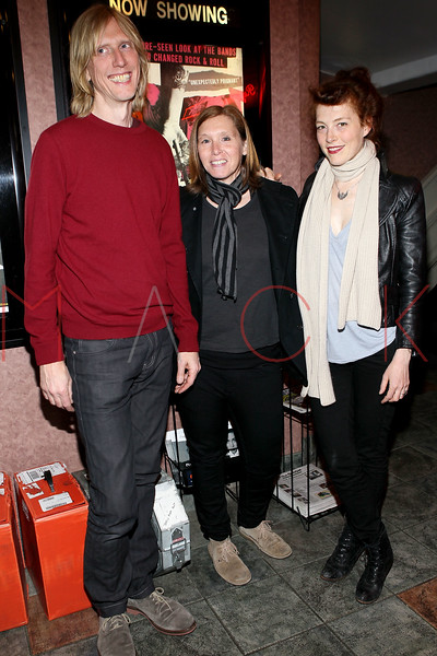 """NEW YORK, NY - APRIL 14:  (L-R) Film subjects and musicians of the alternative American rock group Hole, Eric Erlandson, Patty Schemel and Melissa auf der Maur attend the """"Hit So Hard Documentary Q & A With Members Of The Band Hole at Cinema Village Cinema on April 14, 2012 in New York City.  (Photo by Steve Mack/S.D. Mack Pictures)"""