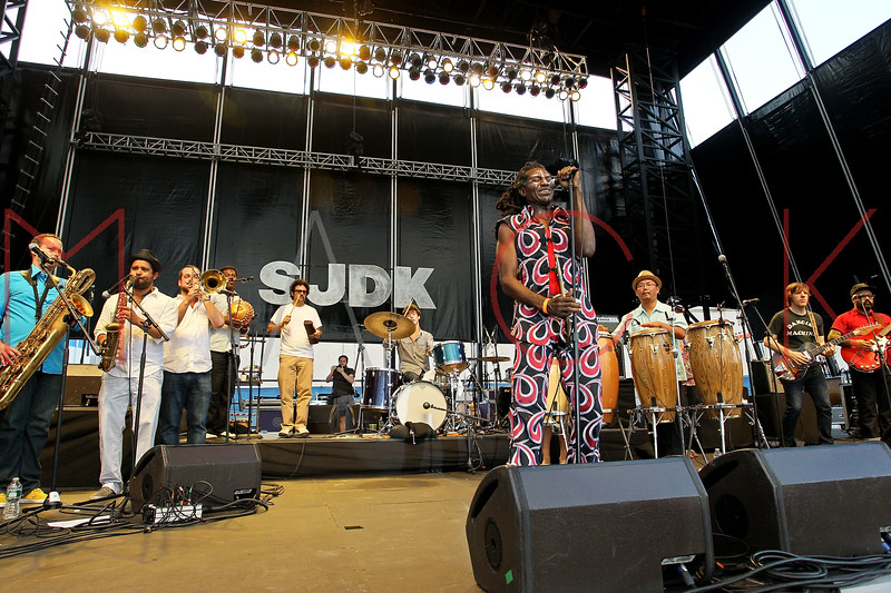 NEW YORK, NY - AUGUST 18:  The Antibalas Afrobeat Orchestra performs during the 2012 Lacoste L!ve Concert Series at the Williamsburg Waterfront on August 18, 2012 in the Brooklyn borough of New York City.  (Photo by Steve Mack/S.D. Mack Pictures)