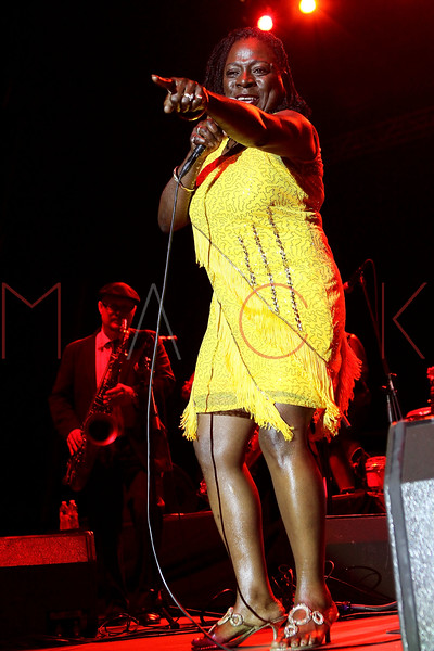 NEW YORK, NY - AUGUST 18:  Sharon Jones & the Dap Kings perform during the 2012 Lacoste L!ve Concert Series at the Williamsburg Waterfront on August 18, 2012 in the Brooklyn borough of New York City.  (Photo by Steve Mack/S.D. Mack Pictures)