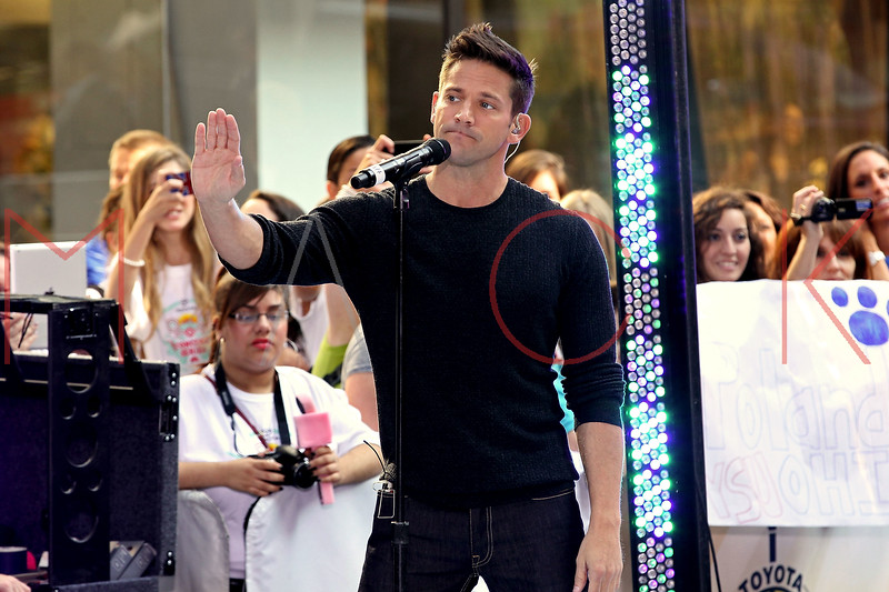 "NEW YORK, NY - AUGUST 17:  Justin Jeffre of 98 Degrees performs on NBC's ""Today"" at Rockefeller Plaza on August 17, 2012 in New York City.  (Photo by Steve Mack/S.D. Mack Pictures)"