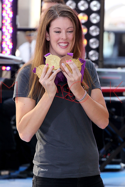 """NEW YORK, NY - AUGUST 17:  Olympic Gold Medal Winner Allison Schmitt attends NBC's """"Today"""" at Rockefeller Plaza on August 17, 2012 in New York City.  (Photo by Steve Mack/S.D. Mack Pictures)"""