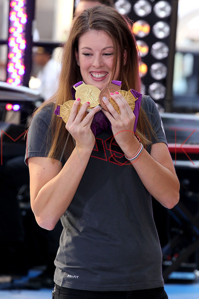 "NEW YORK, NY - AUGUST 17:  Olympic Gold Medal Winner Allison Schmitt attends NBC's ""Today"" at Rockefeller Plaza on August 17, 2012 in New York City.  (Photo by Steve Mack/S.D. Mack Pictures)"
