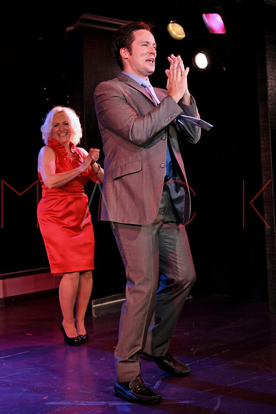 """NEW YORK, NY - AUGUST 26:  Babs Winn and Danny Bernardy during the curtain call for the opening night of """"Cougar the Musical"""" at St. Luke's Theater on August 26, 2012 in New York City.  (Photo by Steve Mack/S.D. Mack Pictures)"""