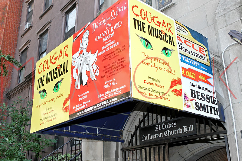 "NEW YORK, NY - AUGUST 26:  Atmosphere (Exterior of Theater) after the curtain call for the opening night of ""Cougar the Musical"" at St. Luke's Theater on August 26, 2012 in New York City.  (Photo by Steve Mack/S.D. Mack Pictures)"