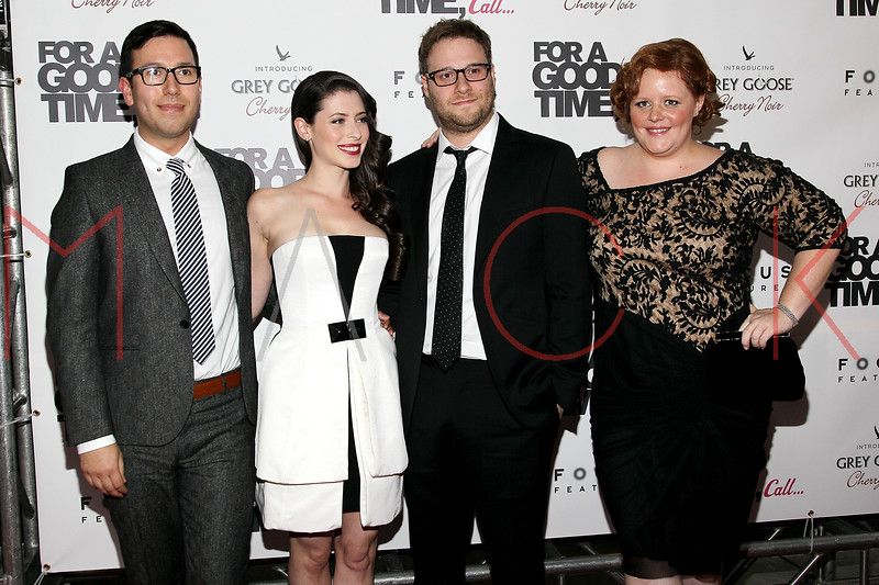 "NEW YORK, NY - AUGUST 21:   (L-R) Jamie Travis, Lauren Miller, Seth Rogen and Katie Anne Naylon attend the ""For A Good Time, Call..."" premiere at Regal Union Square on August 21, 2012 in New York City.  (Photo by Steve Mack/S.D. Mack Pictures)"