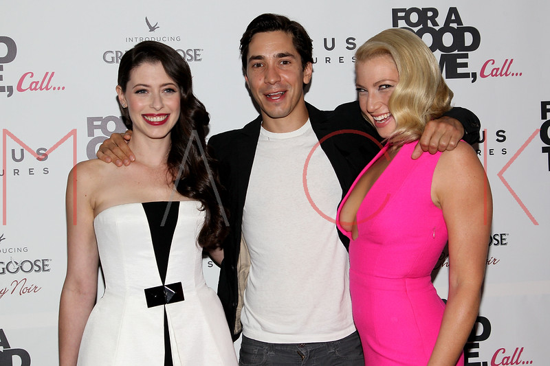 "NEW YORK, NY - AUGUST 21:   Actors Lauren Miller, Justin Long and Ari Graynor attend the ""For A Good Time, Call..."" premiere at Regal Union Square on August 21, 2012 in New York City.  (Photo by Steve Mack/S.D. Mack Pictures)"