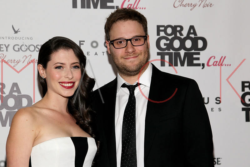"NEW YORK, NY - AUGUST 21:  Lauren Miller and Seth Rogen attend the ""For A Good Time, Call..."" premiere at Regal Union Square on August 21, 2012 in New York City.  (Photo by Steve Mack/S.D. Mack Pictures)"