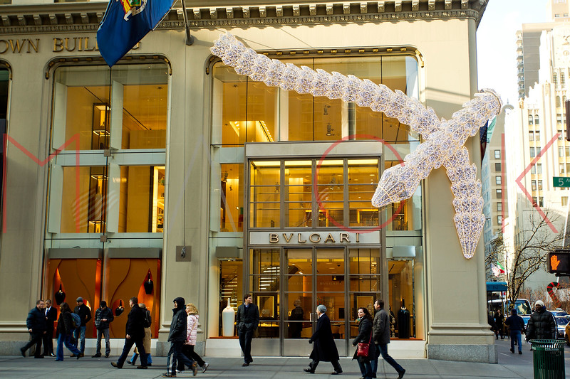 NEW YORK, NY - DECEMBER 13:  Bulgari Holiday Decorations on December 13, 2012 in New York City.  (Photo by Steve Mack/S.D. Mack Pictures)