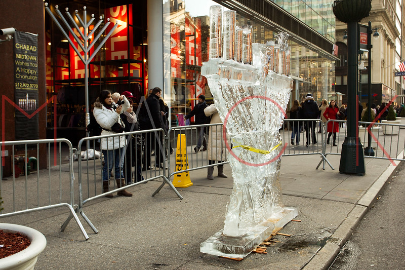 NEW YORK, NY - DECEMBER 13:  Menorah Ice Sculpture on December 13, 2012 in New York City.  (Photo by Steve Mack/S.D. Mack Pictures)