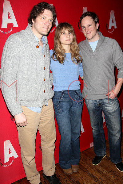 """NEW YORK, NY - DECEMBER 12:  Anthony Rapp, Annie Baker and Patch Darragh attend """"What Rhymes With American"""" Opening Night After Party at Moran's Restaurant on December 12, 2012 in New York City.  (Photo by Steve Mack/S.D. Mack Pictures)"""