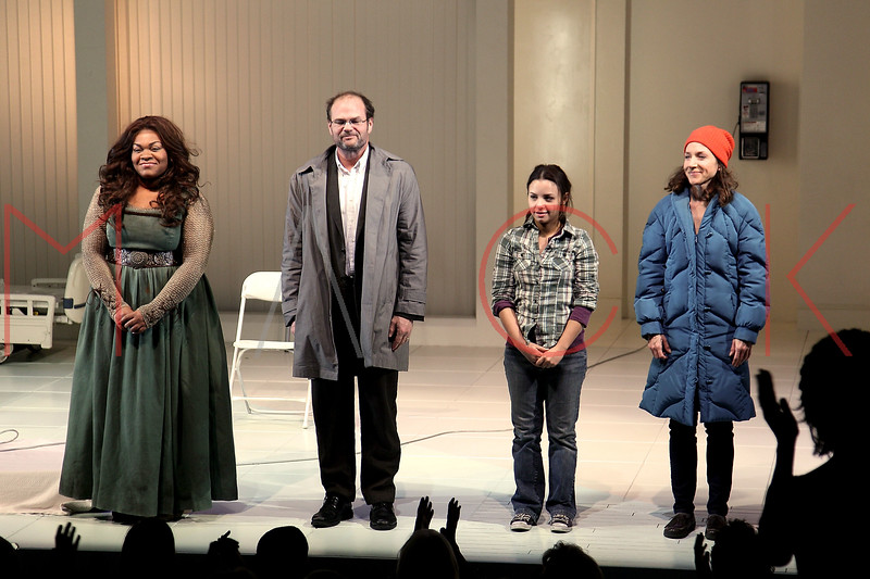 "NEW YORK, NY - DECEMBER 12:  Actors Da'Vine Joy Randolph, Chris Bauer, Aimee Carrero and Seana Kofoed participate in the curtain call on the ""What Rhymes With American"" Opening Night at The Linda Gross Theater on December 12, 2012 in New York City.  (Photo by Steve Mack/S.D. Mack Pictures)"