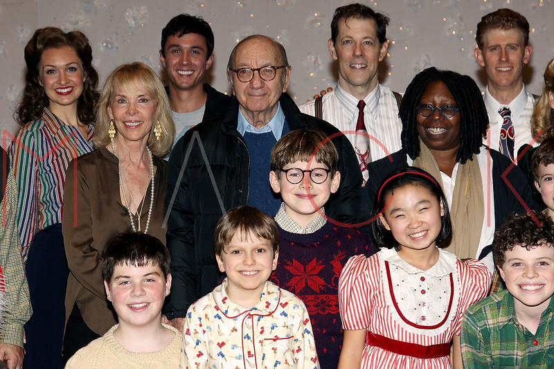 """NEW YORK, NY - DECEMBER 04:  (2nd- L) Elaine Joyce, Neil Simon, Johnny Rabe, John Bolton and Whoopi Goldberg back stage at """"A Christmas Story, The Musical"""" on December 4, 2012 in New York City.  (Photo by Steve Mack/S.D. Mack Pictures)"""