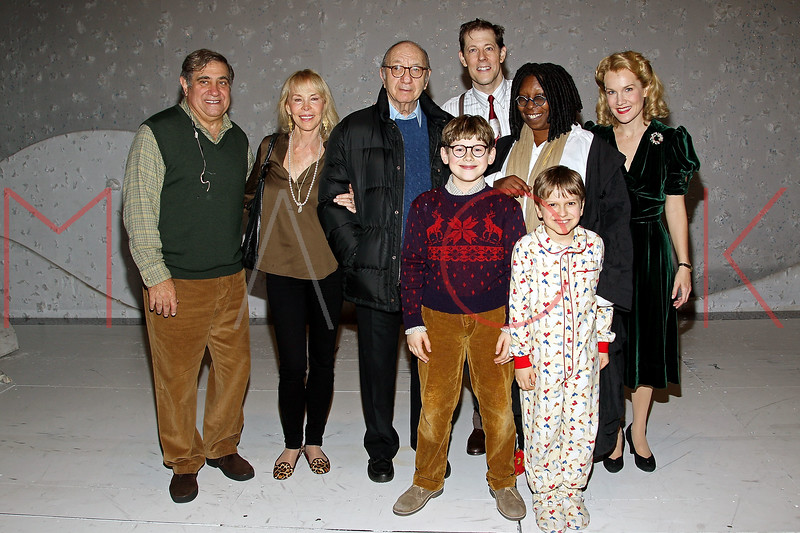 "NEW YORK, NY - DECEMBER 04:  Dan Lauria, Elaine Joyce, Neil Simon, Johnny Rabe, John Bolton, Whoopi Goldberg, Zac Ballard and Erin Dilly back stage at ""A Christmas Story, The Musical"" on December 4, 2012 in New York City.  (Photo by Steve Mack/S.D. Mack Pictures)"