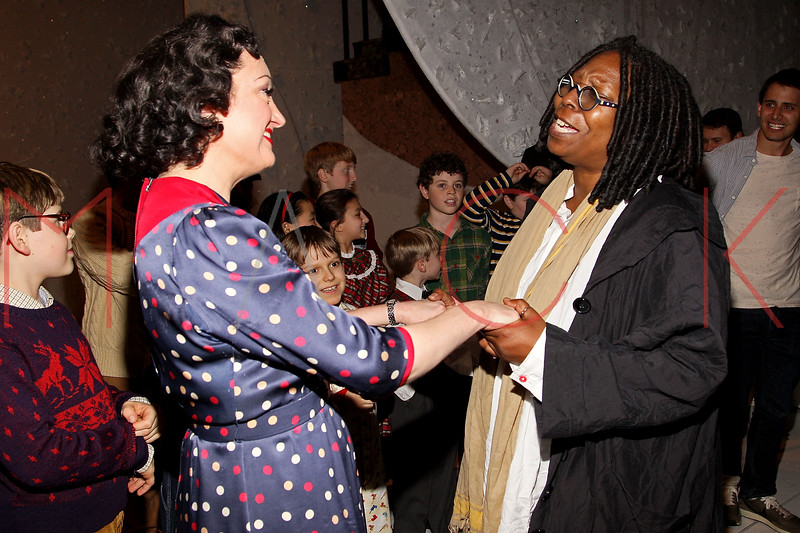 "NEW YORK, NY - DECEMBER 04:  Caroline O'Connor and Whoopi Goldberg back stage at ""A Christmas Story, The Musical"" on December 4, 2012 in New York City.  (Photo by Steve Mack/S.D. Mack Pictures)"