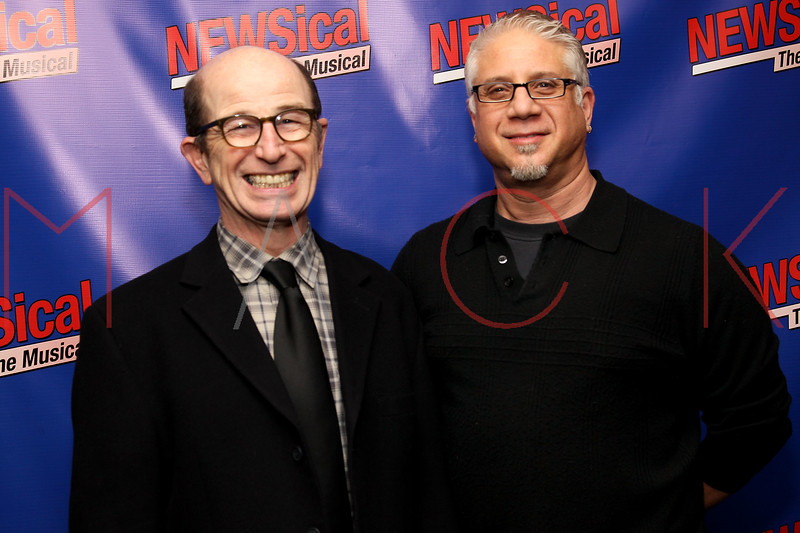 """NEW YORK, NY - FEBRUARY 01:  Everett Quinton and Adam Weinstock attend the opening night of """"NEWSical the Musical: End of the World Edition"""" at the  The Kirk Theater at Theatre Row on February 1, 2012 in New York City.  (Photo by Steve Mack/S.D. Mack Pictures)"""