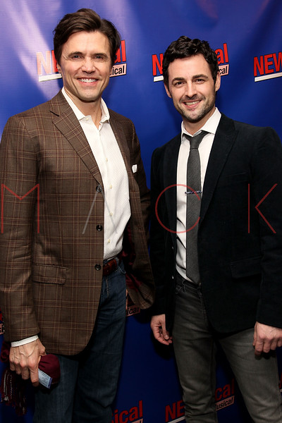 "NEW YORK, NY - FEBRUARY 01:  Brent Barrett and Max Von Essen attends the opening night of ""NEWSical the Musical: End of the World Edition"" at the  The Kirk Theater at Theatre Row on February 1, 2012 in New York City.  (Photo by Steve Mack/S.D. Mack Pictures)"