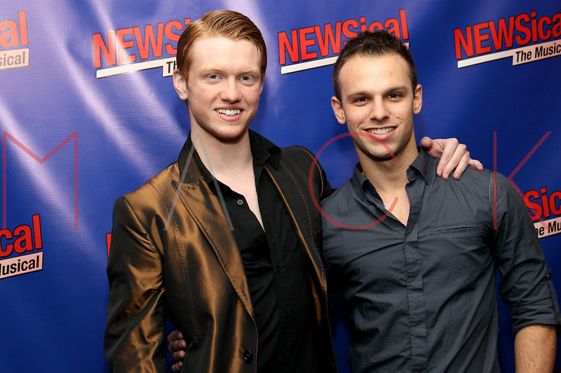 """NEW YORK, NY - FEBRUARY 01:  Ricky Schroder and Brian Obermeyer attend the opening night of """"NEWSical the Musical: End of the World Edition"""" at the  The Kirk Theater at Theatre Row on February 1, 2012 in New York City.  (Photo by Steve Mack/S.D. Mack Pictures)"""