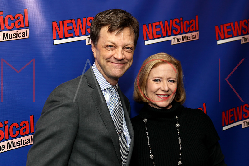 """NEW YORK, NY - FEBRUARY 01:  Jim Caruso and Eve Plumb attend the opening night of """"NEWSical the Musical: End of the World Edition"""" at the  The Kirk Theater at Theatre Row on February 1, 2012 in New York City.  (Photo by Steve Mack/S.D. Mack Pictures)"""