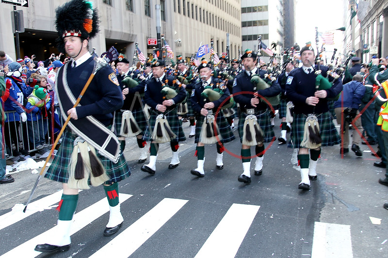 NEW YORK, NY - FEBRUARY 07:  FDNY Emerald Society Pipes and Drums perform during the New York Giants Victory Parade following their Super Bowl XLVI win down the Canyon of Heroes on the streets of Manhattan on February 7, 2012 in New York City.  (Photo by Steve Mack/S.D. Mack Pictures)