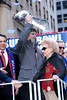 NEW YORK, NY - FEBRUARY 07:  MVP New York Giants, Eli Manning holds the Vince Lombardi Trophy during the New York Giants Victory Parade following their Super Bowl XLVI win down the Canyon of Heroes on the streets of Manhattan on February 7, 2012 in New York City.  (Photo by Steve Mack/S.D. Mack Pictures)