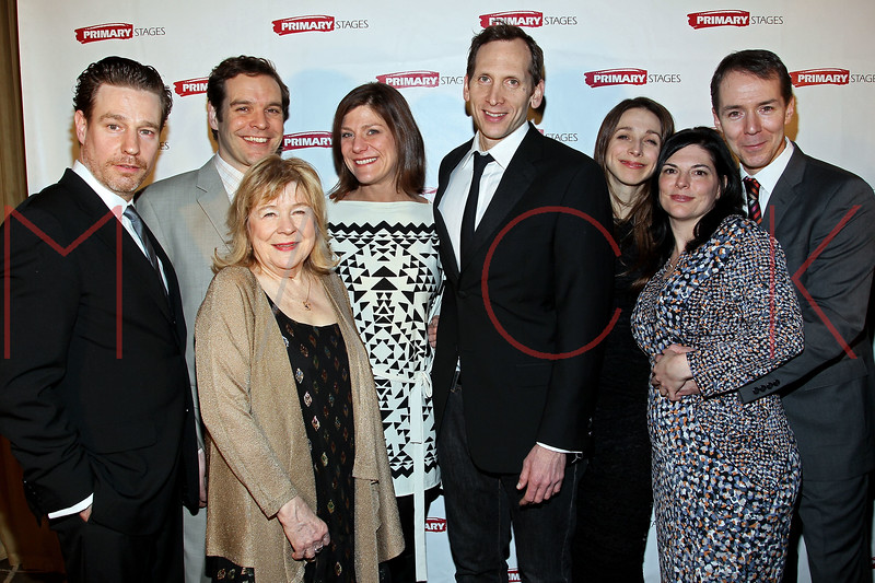 """NEW YORK, NY - FEBRUARY 07:  Ethan McSweeny, Michael Bakkensen, Marylouise Burke, Elizabeth Rich, Stephen Kunken, Marin Hinkle, Kate Fodor and Paul Niebanck attend """"RX"""" Broadway opening night after party at the 48 Lounge on February 7, 2012 in New York City.  (Photo by Steve Mack/S.D. Mack Pictures)"""