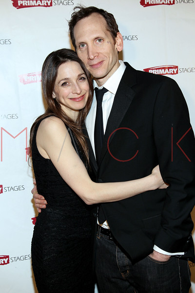 """NEW YORK, NY - FEBRUARY 07:  Marin Hinkle and Stephen Kunken attend """"RX"""" Broadway opening night after party at the 48 Lounge on February 7, 2012 in New York City.  (Photo by Steve Mack/S.D. Mack Pictures)"""