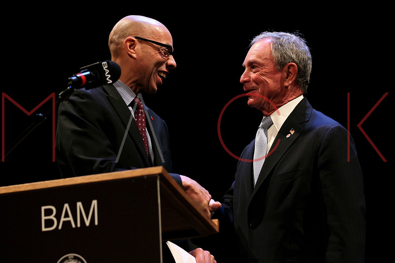 NEW YORK, NY - JANUARY 16:  NYC Dept. of Education Chancellor Dennis M. Walcott and NYC Mayor Michael R. Bloomberg attend the 6th annual Brooklyn Tribute to Dr. Martin Luther King, Jr. at the BAM Howard Gilman Opera House on January 16, 2012 in New York City.  (Photo by Steve Mack/S.D. Mack Pictures)