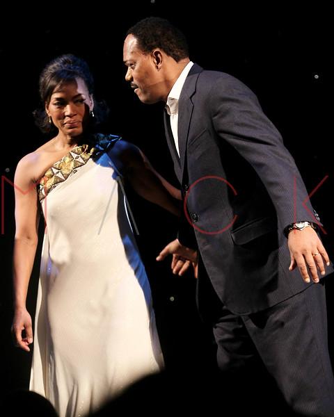 """NEW YORK, NY - JANUARY 22:  Angela Bassett and Samuel L. Jackson attend the final curtain call and presentation for Broadway's """"The Mountaintop"""" at The Bernard B. Jacobs Theatre on January 22, 2012 in New York City.  (Photo by Steve Mack/S.D. Mack Pictures)"""