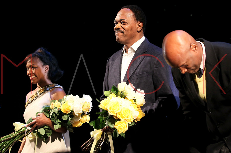 "NEW YORK, NY - JANUARY 22:  Angela Bassett and Samuel L. Jackson attend the final curtain call and presentation for Broadway's ""The Mountaintop"" at The Bernard B. Jacobs Theatre on January 22, 2012 in New York City.  (Photo by Steve Mack/S.D. Mack Pictures)"