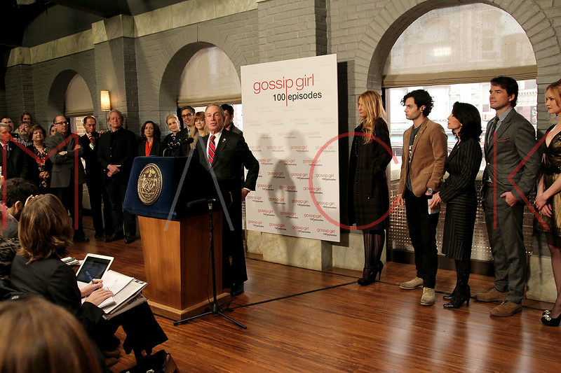 """NEW YORK, NY - JANUARY 26:  New York City Mayor Michael R. Bloomberg attends the Mayoral proclamation in celebration of the """"Gossip Girl"""" 100th episode at Silver Cup Studios on January 26, 2012 in New York City.  (Photo by Steve Mack/S.D. Mack Pictures)"""