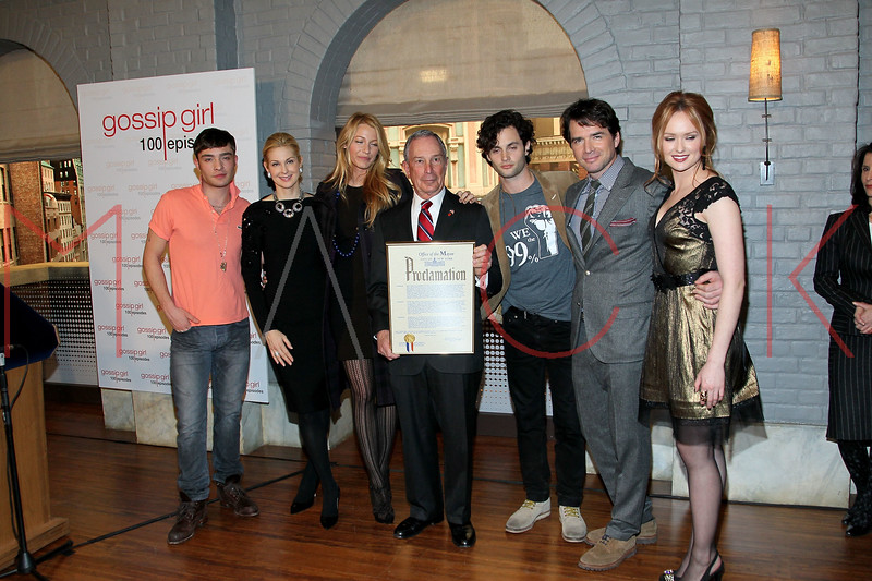 "NEW YORK, NY - JANUARY 26:  Ed Westwick, Kelly Rutherford, Blake Lively, New York City Mayor Michael R. Bloomberg, Penn Badgley, Matthew Settle and Kaylee DeFer attend the Mayoral proclamation in celebration of the ""Gossip Girl"" 100th episode at Silver Cup Studios on January 26, 2012 in New York City.  (Photo by Steve Mack/S.D. Mack Pictures)"