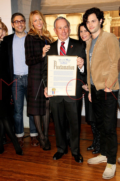 "NEW YORK, NY - JANUARY 26:  Josh Safran, Blake Lively, New York City Mayor Michael R. Bloomberg, Commissioner Katherine Oliver, New York City Mayor's Office of Film, Theater and Broadcasting and Penn Badgley attend the Mayoral proclamation in celebration of the ""Gossip Girl"" 100th episode at Silver Cup Studios on January 26, 2012 in New York City.  (Photo by Steve Mack/S.D. Mack Pictures)"