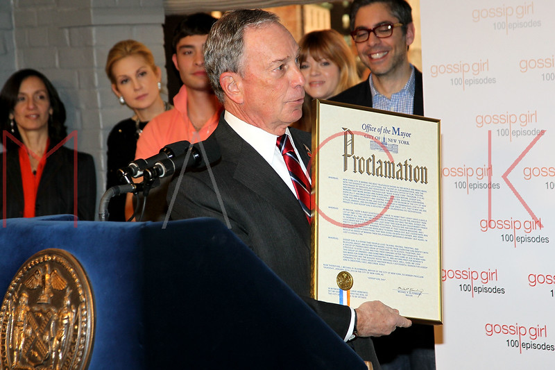 "NEW YORK, NY - JANUARY 26:  New York City Mayor Michael R. Bloomberg attends the Mayoral proclamation in celebration of the ""Gossip Girl"" 100th episode at Silver Cup Studios on January 26, 2012 in New York City.  (Photo by Steve Mack/S.D. Mack Pictures)"