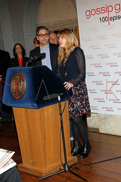 "NEW YORK, NY - JANUARY 26:  Executive Producers Josh Safran and Stephanie Savage attend the Mayoral proclamation in celebration of the ""Gossip Girl"" 100th episode at Silver Cup Studios on January 26, 2012 in New York City.  (Photo by Steve Mack/S.D. Mack Pictures)"