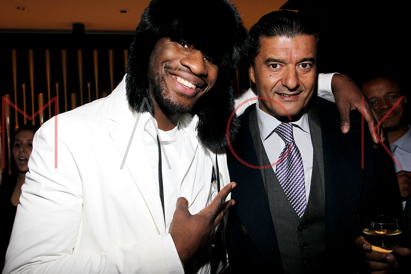 """NEW YORK, NY - JANUARY 18:  Eric Kelly and Jacob Arabo (a.k.a. """"Jacob the Jeweler"""") attend the grand re-opening of Jay-Z's 40/40 Club on January 18, 2012 in New York City.  (Photo by Steve Mack/S.D. Mack Pictures)"""