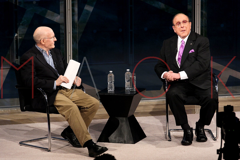 NEW YORK, NY - JANUARY 08:  Stephen Holden and Clive Davis attend the New York Times TimesTalk during the 2012 NY Times Arts & Leisure weekend at The Times Center on January 8, 2012 in New York City.  (Photo by Steve Mack/S.D. Mack Pictures)