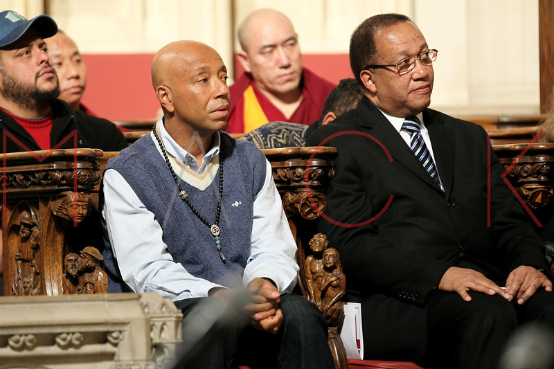 NEW YORK, NY - JANUARY 15:  Russell Simmons and Benjamin Chavis attend the 2012 Dr. Martin Luther King Jr. Service at Riverside Church on January 15, 2012 in New York City.  (Photo by Steve Mack/S.D. Mack Pictures)