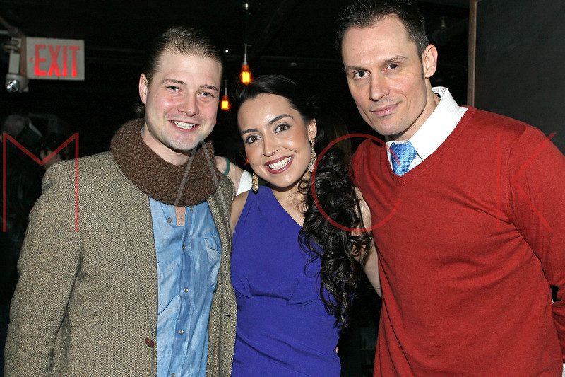 """NEW YORK, NY - JANUARY 17:  Brandon Ruckdashel, Daniela Rivera and Keith Collins attend """"The Meat Puppet"""" New York Premiere after party at Kings Cross on January 17, 2013 in New York City.  (Photo by Steve Mack/S.D. Mack Pictures)"""