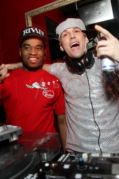 NEW YORK, NY - JANUARY 19:  Patrick Toussaint and Aaron Carter attends the Aaron Carter Concert After Party at Angels & Kings on January 19, 2012 in New York City.  (Photo by Steve Mack/S.D. Mack Pictures)