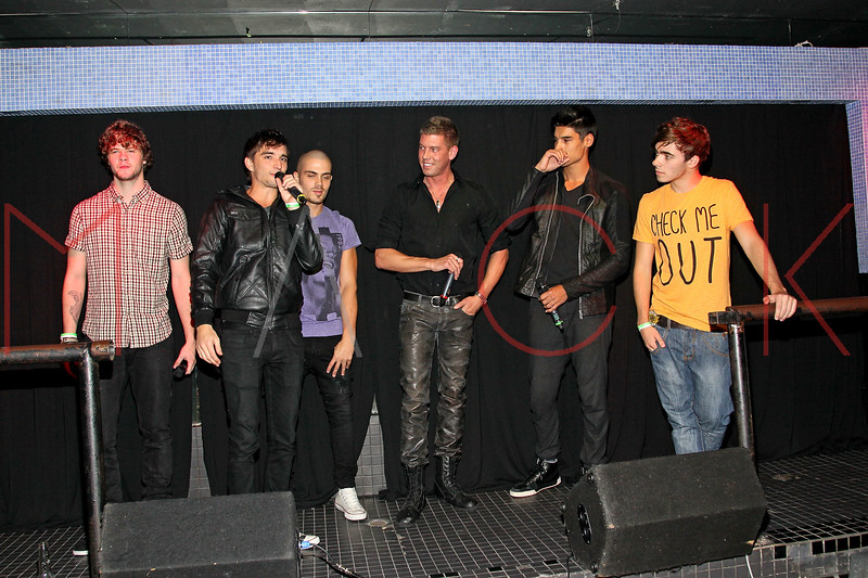 NEW YORK, NY - JANUARY 21:  Jay Mcguiness, Tom Parker, Max George, Dougie Meyer, Siva Kaneswaran and Nathan Sykes on stage at Splash Bar on January 21, 2012 in New York City.  (Photo by Steve Mack/S.D. Mack Pictures)