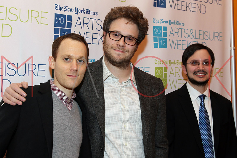 NEW YORK, NY - JANUARY 08:  Will Reiser, Seth Rogen and Dave Itzkoff attend the New York Times TimesTalk during the 2012 NY Times Arts & Leisure weekend at The Times Center on January 8, 2012 in New York City.  (Photo by Steve Mack/S.D. Mack Pictures)