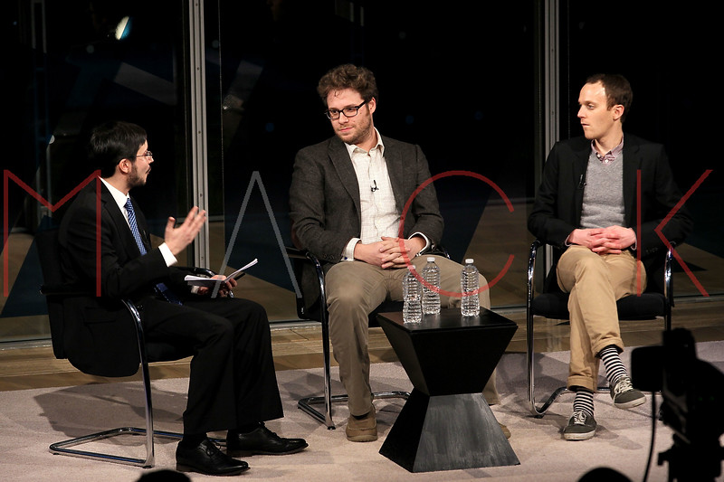 NEW YORK, NY - JANUARY 08:  Dave Itzkoff, Seth Rogen and Will Reiser attend the New York Times TimesTalk during the 2012 NY Times Arts & Leisure weekend at The Times Center on January 8, 2012 in New York City.  (Photo by Steve Mack/S.D. Mack Pictures)