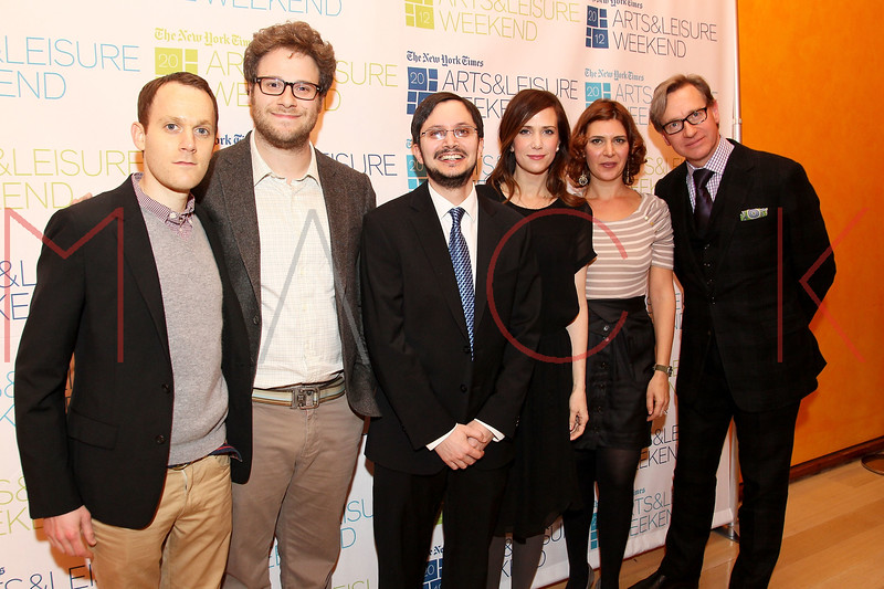 NEW YORK, NY - JANUARY 08:  Will Reiser, Seth Rogen, Dave Itzkoff, Kristen Wiig, Melena Ryzik and Paul Feig attend the New York Times TimesTalk during the 2012 NY Times Arts & Leisure weekend at The Times Center on January 8, 2012 in New York City.  (Photo by Steve Mack/S.D. Mack Pictures)